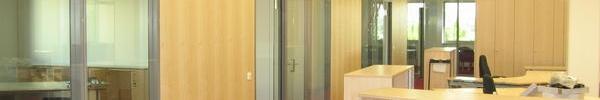 Glastrennwand kombiniert mit Echtholzfurnier